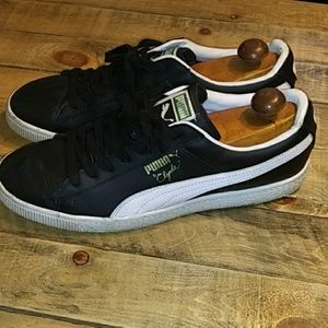 PUMA CLYDE BLACK LEATHER SNEAKERS MENS SIZE 12